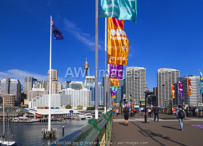 Australia, New South Wales, NSW, Sydney, CBD, Central Business District buildings from Pyrmont Bridge, Darling Harbour