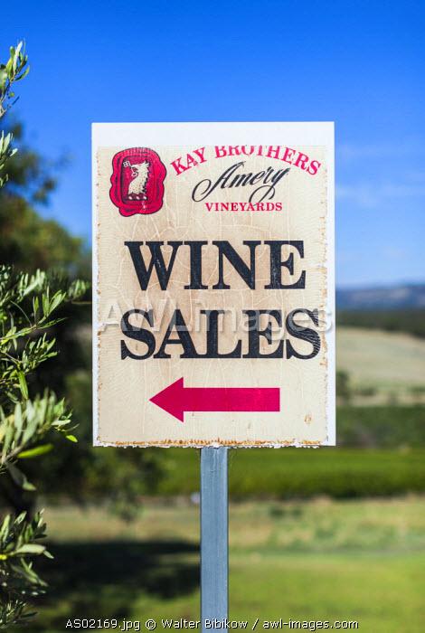 Australia, South Australia, Fleurieu Peninsula, McLaren Vale Wine Region, McLaren Vale, Kay Brothers Winery, sign