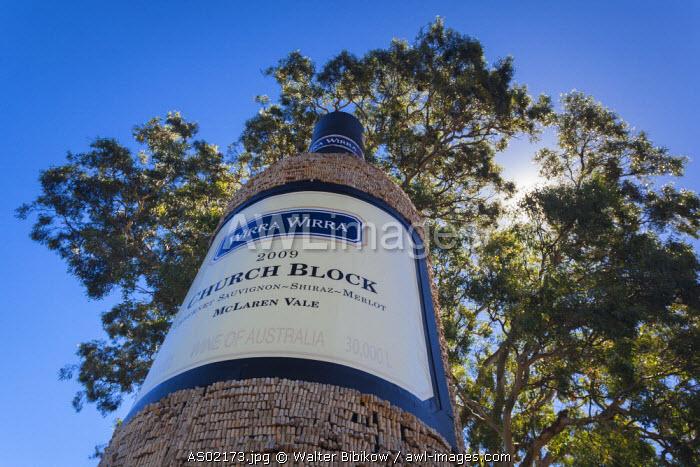 Australia, South Australia, Fleurieu Peninsula, McLaren Vale Wine Region, McLaren Vale, Wirra-Wirra Winery, large wine botlle made of wine corks