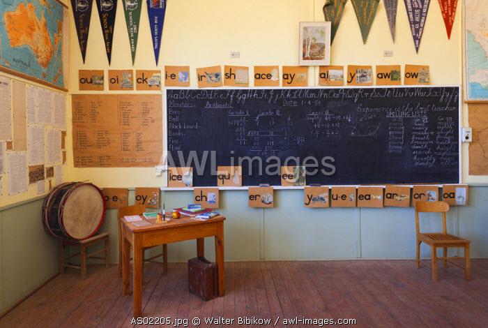 Australia, South Australia, Yorke Peninsula, Kadina, Farm Shed Museum, one room school, blackboard