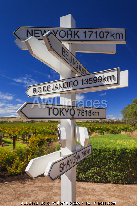 Australia, South Australia, Barossa Valley, Rowland Flat, Jacob's Creek Winery, visitor center, directional signs