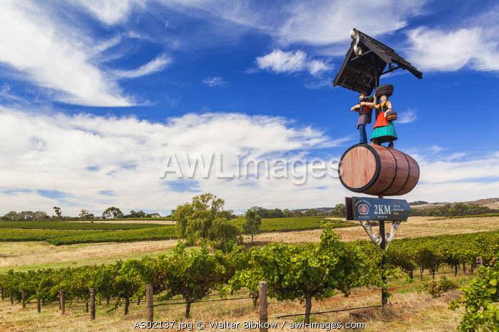 Australia, South Australia, Barossa Valley, Tanunda, Grant Burge Winery, sign