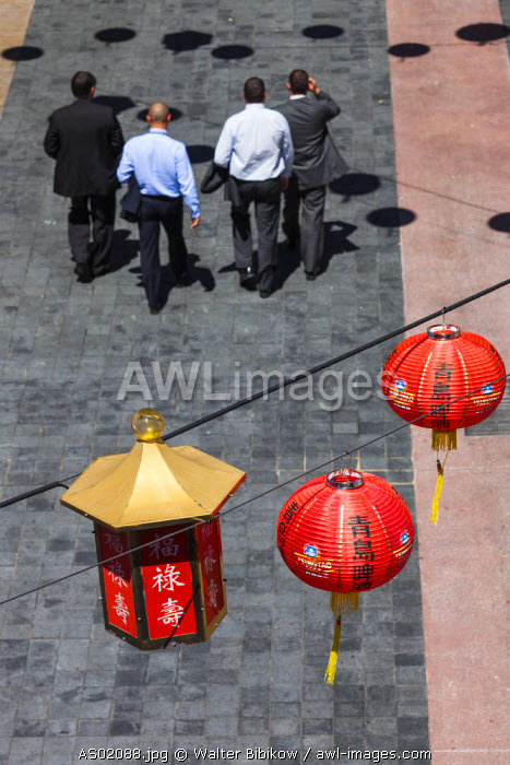 Australia, South Australia, Adelaide, Adelaide Central Market, Chinese lanterns, elevated view