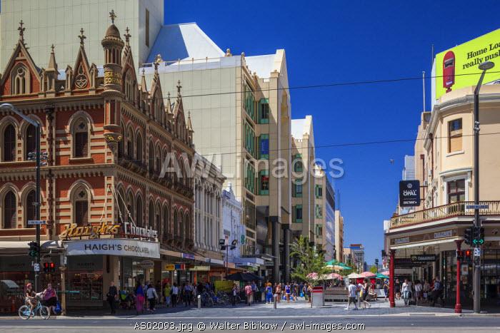 Australia, South Australia, Adelaide, corner of Rundle Streel Mall and King William Streets