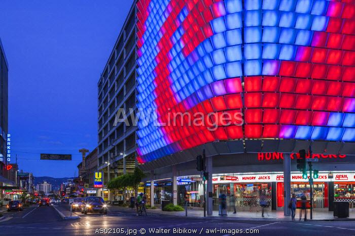 Australia, South Australia, Adelaide, Rundle Street, The Rundle Lantern, LED panel board, evening