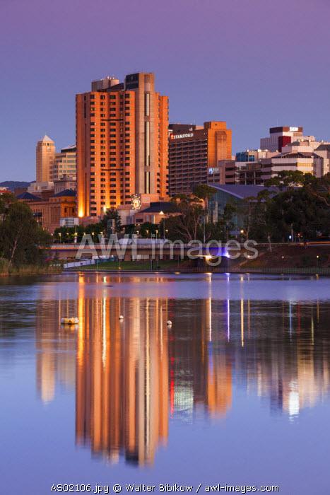 Australia, South Australia, Adelaide, skyline from Torrens Lake, daytime, dusk