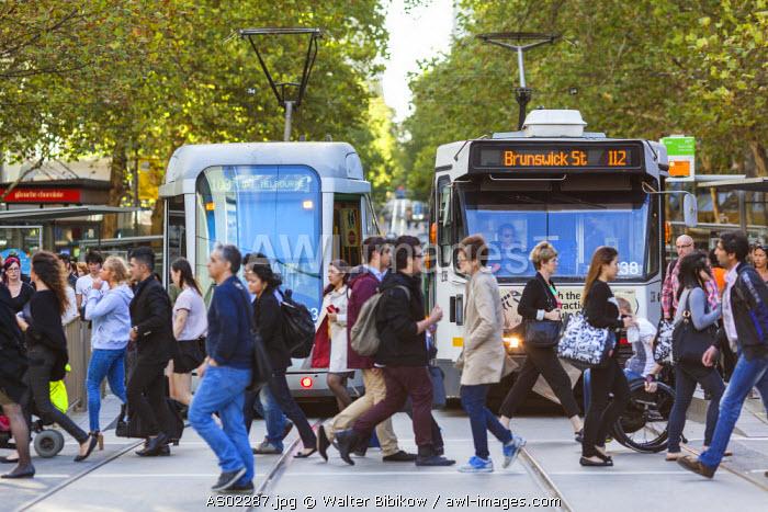 Australia, Victoria, VIC, Melbourne, Swanston Street, trams