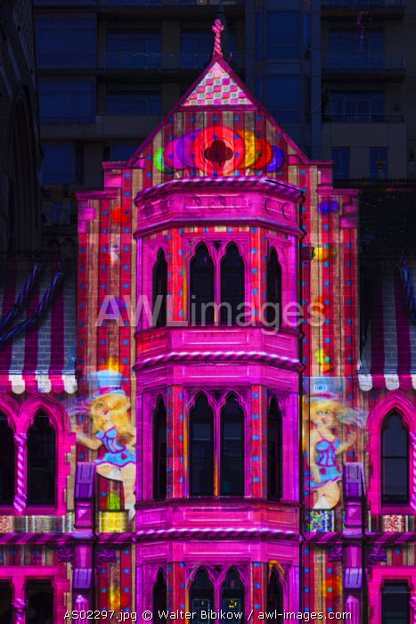 Australia, Victoria, VIC, Melbourne, White Nights Festival, buildings lit with projected laser designs, St. Paul's Cathedral