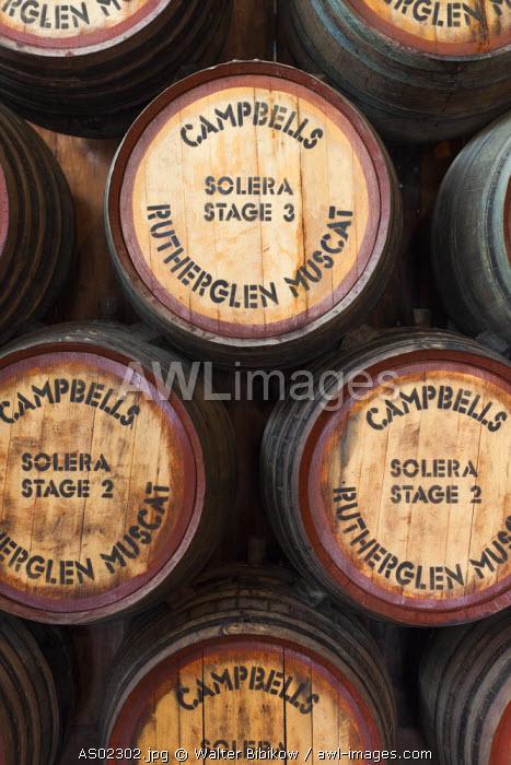 Australia, Victoria, VIC, Rutherglen, Campbell's Winery, wine barrels