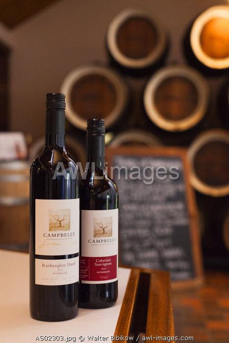 Australia, Victoria, VIC, Rutherglen, Campbell's Winery, wine bottles
