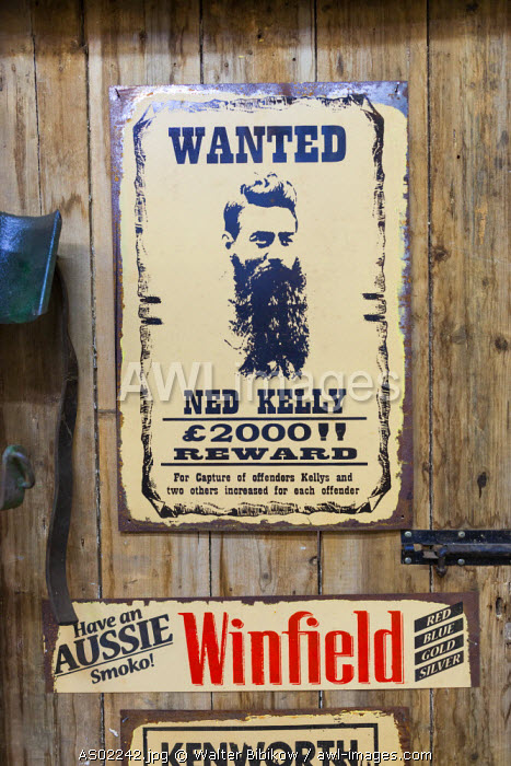 Australia, Victoria, VIC, Castlemaine, Restorers Barn, antique Wanted poster for legendary Australlian bandit Ned Kelly