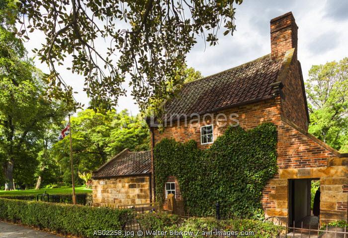 Australia, Victoria, VIC, Melbourne, East Melbourne, Fitzroy Gardens, Cooks Cottage, reconstructed Yorkshire cottage built by the parents of explorer Captain James Cook