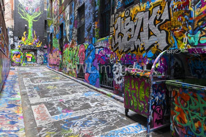 Australia, Victoria, VIC, Melbourne, Hosier Lane, streetside graffiti gallery