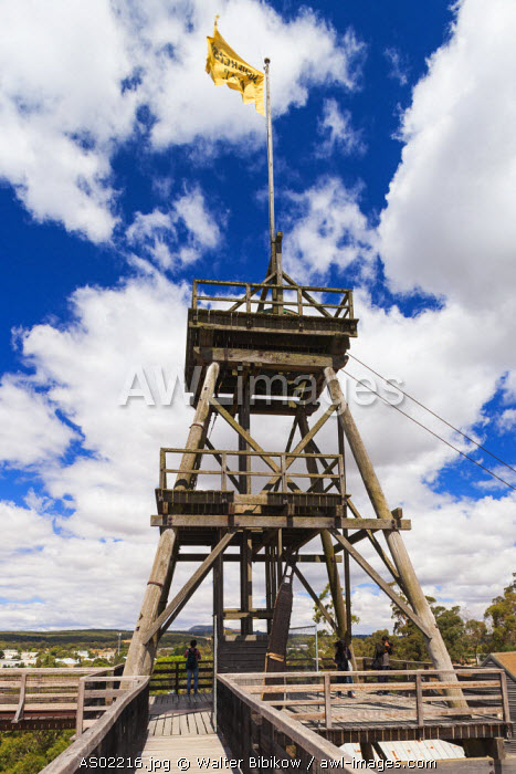 Australia, Victoria, VIC, Ballarat, Sovereign Hill, recreated 1860s-era gold mining township, gold mine