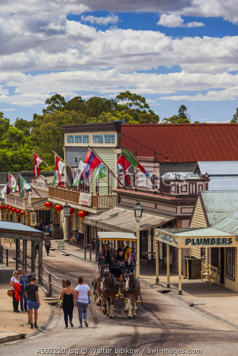 Australia, Victoria, VIC, Ballarat, Sovereign Hill, recreated 1860s-era gold mining township, town view