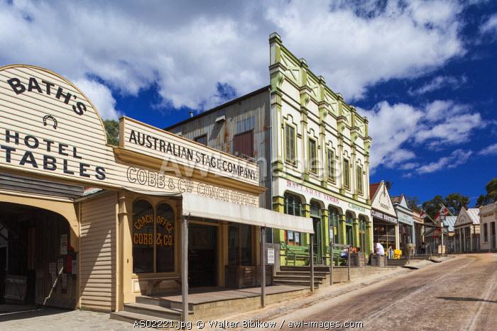 Australia, Victoria, VIC, Ballarat, Sovereign Hill, recreated 1860s-era gold mining township, town view
