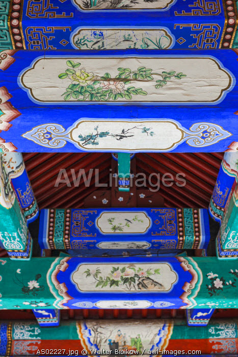 Australia, Victoria, VIC, Bendigo, Golden Dragon Museum and Gardens, museum of Chinese immigrant life, ceiling detail with Chinese art
