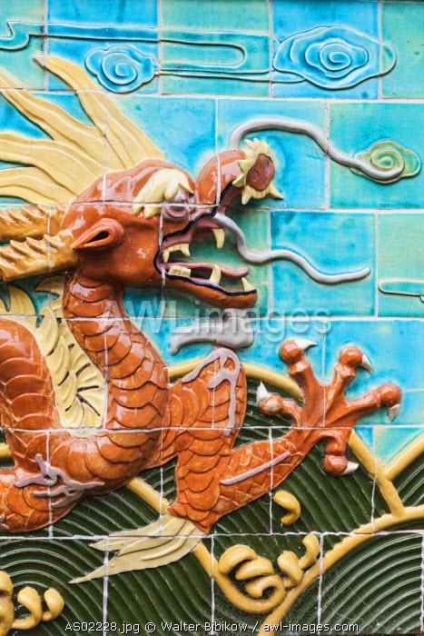 Australia, Victoria, VIC, Bendigo, Golden Dragon Museum and Gardens, museum of Chinese immigrant life, dragon ceramic wall art