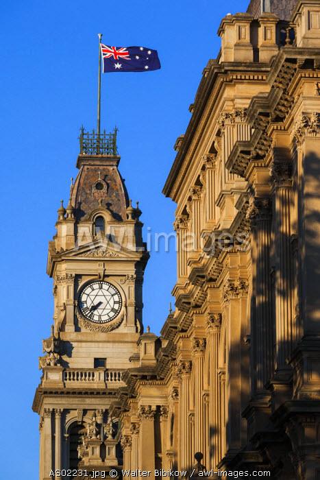 Australia, Victoria, VIC, Bendigo, Town Hall tower, morning