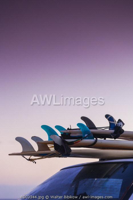 Australia, Western Australia, The Southwest, Prevelly, Surfers Point, surf boards, dusk