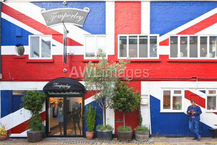 United Kingdom, London, Notting Hill, Temperley fashion store with Union Jack painted on the front