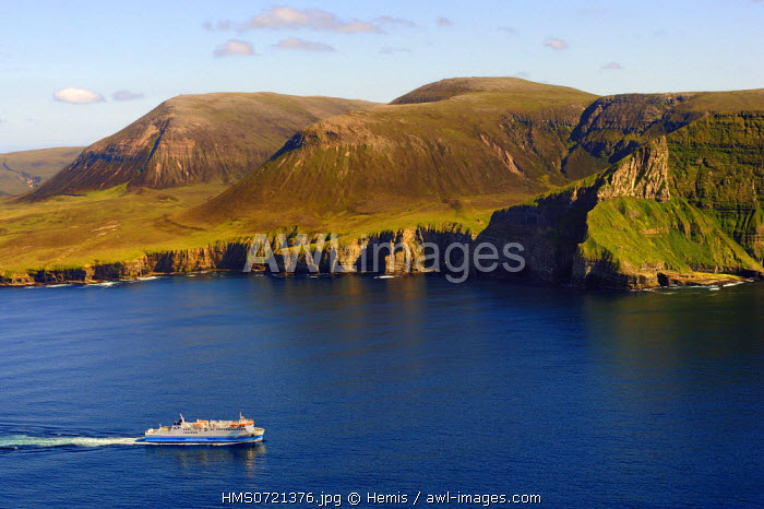 United Kingdom, Scotland, Orkney Islands, Island of Hoy, the ferry from Stromness in front of Ward Hill is the highest hill in Orkney (aerial view)