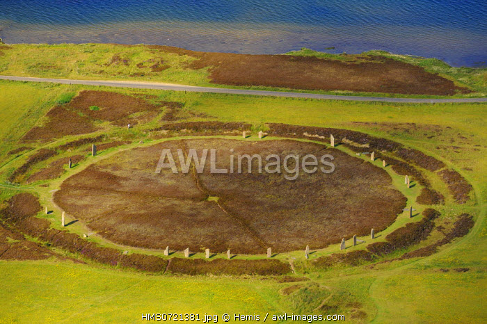 United Kingdom, Scotland, Orkney Islands, Mainland Island, beside the Loch of Stenness, standing stones (stone circle) from the Ring of Brodgar, listed as World Heritage by UNESCO (aerial view)