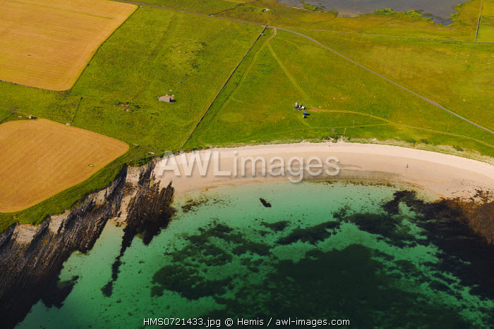 United Kingdom, Scotland, Orkney Islands, Papa Westray Island, beach and clear sea (aerial view)