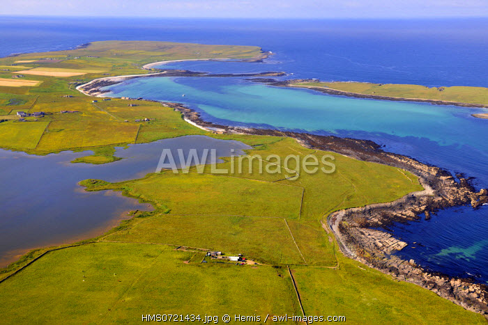 United Kingdom, Scotland, Orkney Islands, Isle of Papa Westray, fields and scattered farms on this very small island (about 9 km=) (aerial view)