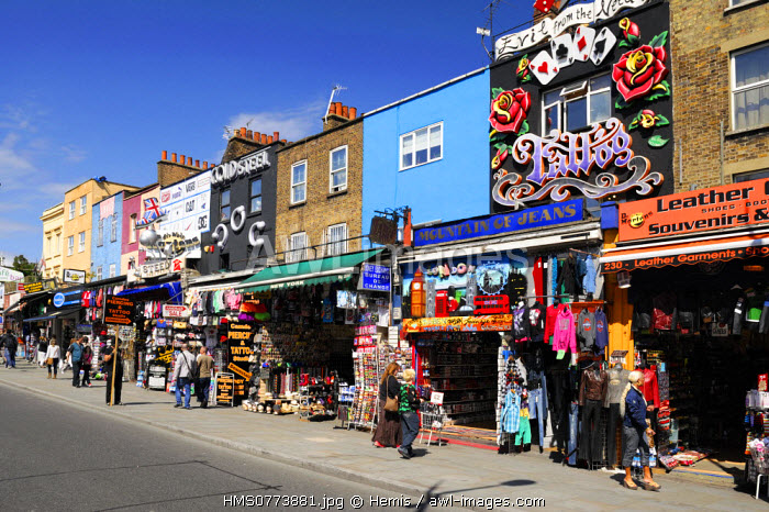 United Kingdom, London, Camden, walkers at the trendy stores of Camden Market