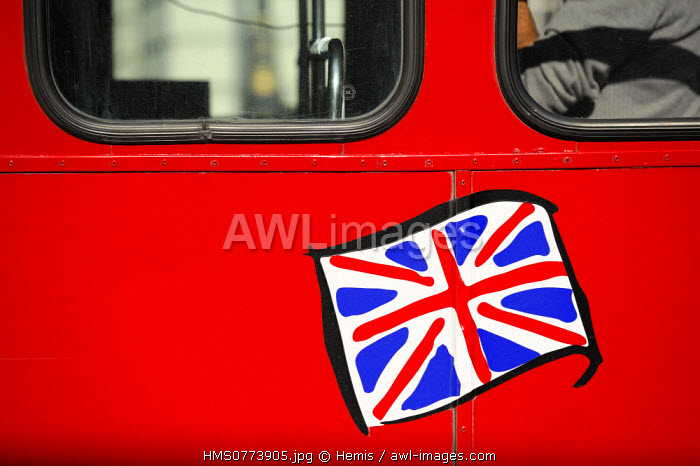 United Kingdom, London, Union Jack flag on a British double decker bus English