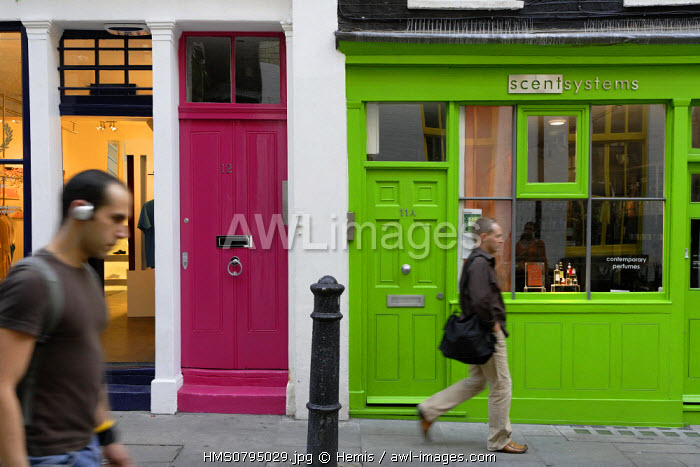 United Kingdom, London, facades of shops in the district of Soho