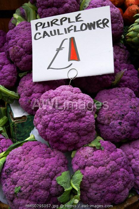 United Kingdom, London, cauliflowers on a display of Borough Market