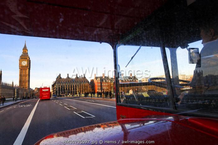 United Kingdom, London, old bus of London on the Westminster Bridge
