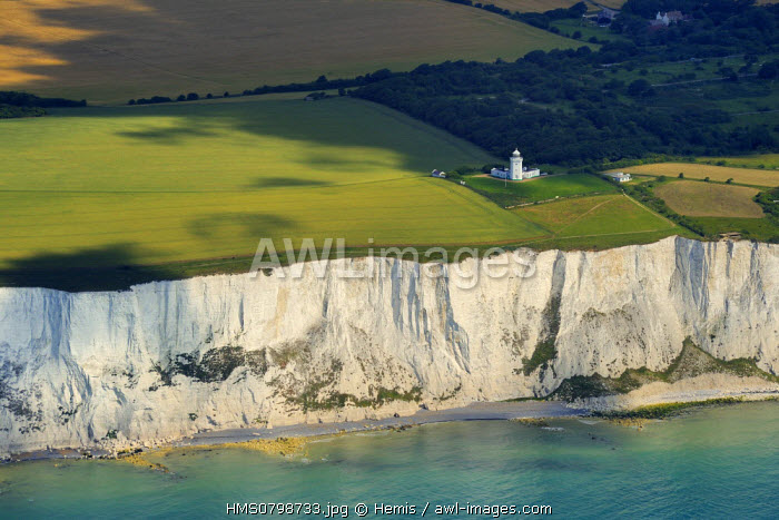 United Kingdom, England, Kent, St Margaret's Bay, White Cliffs of Dover and the South Foreland lighthouse (aerial view)