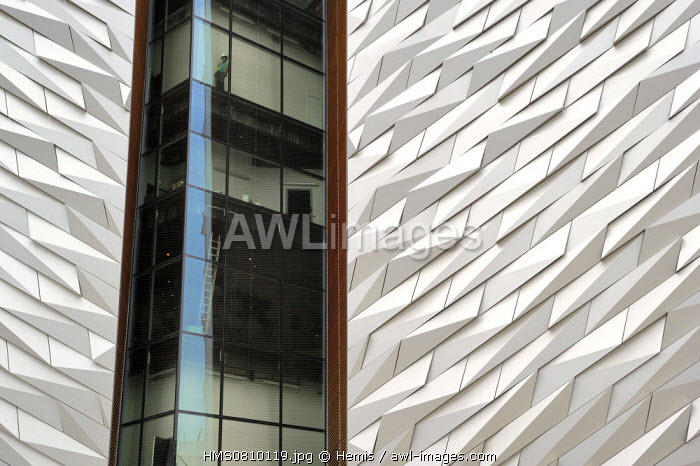 United Kingdom, Northern Ireland, Belfast, docks district of Queen's Island, the Titanic Belfast Experience center, detail of a facade