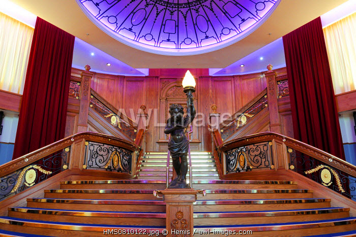 United Kingdom, Northern Ireland, Belfast, docks district of Queen's Island, the Titanic Belfast Experience center, reconstitution of the Grand Staircase of the Titanic in the restaurant