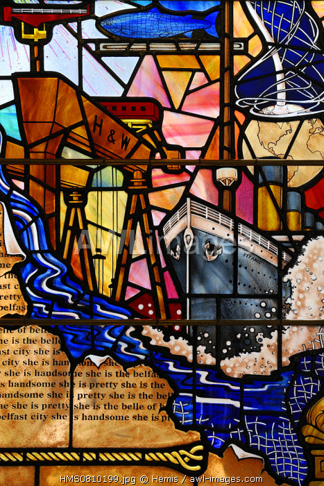 United Kingdom, Northern Ireland, Belfast, the City Hall, the main hall, stained glass window representing the Titanic and the Samson and Goliath gantry cranes from Harland and Wolff