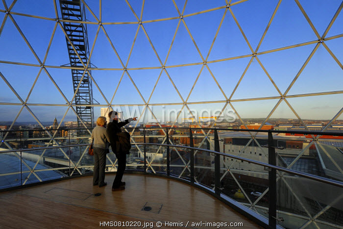 United Kingdom, Northern Ireland, Belfast, the Victoria Square commercial center glass dome measuring 35m in diameter gives a large view over the city