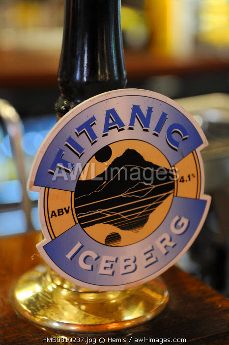 United Kingdom, Northern Ireland, Belfast, Cathedral Quarter, The John Hewitt pub, micro-brewery beers created in tribute to the Titanic and White Star