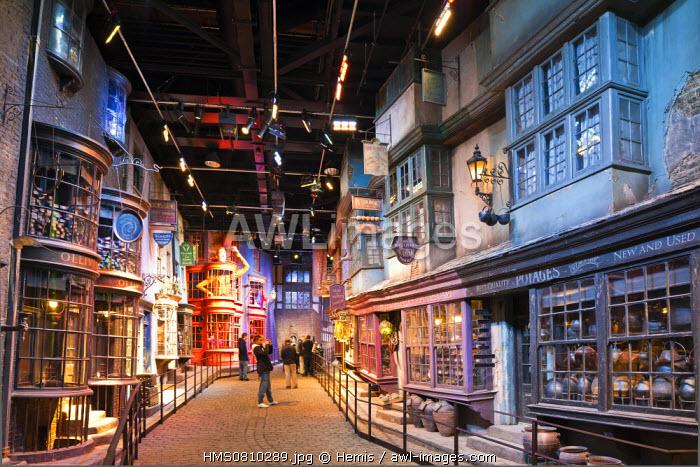 United Kingdom, London, Hertfordshire, Leavesden, Leavesden Film Studios, Harry Potter Studio Tour London, the scene of the eight Harry Potter movies' making of, Diagon alley