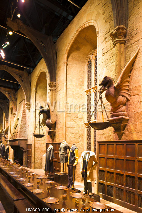 United Kingdom, London, Hertfordshire, Leavesden, Leavesden Film Studios, Harry Potter Studio Tour London, the scene of the eight Harry Potter movies' making of, the great hall in Hogwarts School