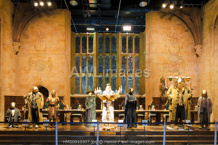 United Kingdom, London, Hertfordshire, Leavesden, Leavesden Film Studios, Harry Potter Studio Tour London, the scene of the eight Harry Potter movies' making of, the great hall in Hogwarts School with some costumes