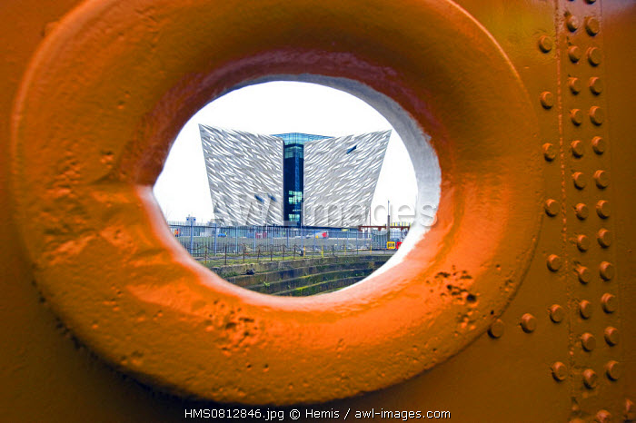 United Kingdom, Northern Ireland, Belfast, the Titanic Belfast museum seen from the Nomadic, the ship used to transfer the 1st and 2nd class passengers