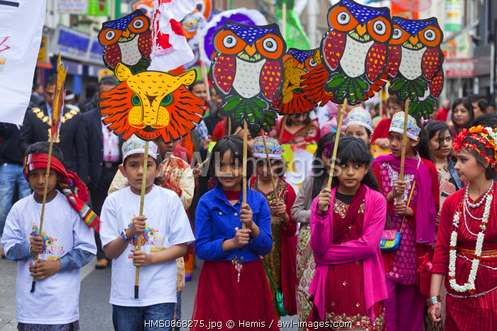 United Kingdom, London, East End district, Brick Lane, Indian festival
