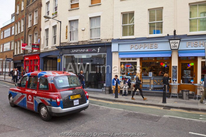 United Kingdom, London, East End district, taxi on Corbet place