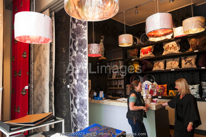 United Kingdom, Scotland, Glasgow, popular district of Hillhead in East End, Timorous Beasties creator of wall paper and draperies