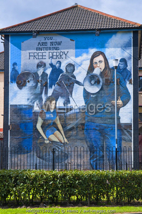 United Kingdom, Northern Ireland (Ulster), Derry county, Derry or Londonderry, famous Bogside republican and catholic quarter