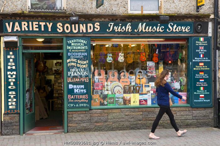 Ireland, County Kerry, Killarney, music store