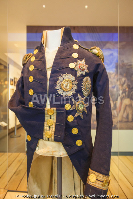 England, London, Greenwich, National Maritime Museum, Naval Uniform worn by Nelson when Shot and Killed at The Battle of Trafalgar